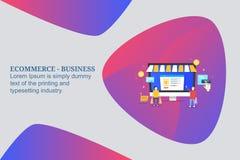 Покупки Ecommerce, онлайн покупать, покупая онлайн продукты, онлайн магазин розничной торговли, приобретение людей от электронног иллюстрация штока
