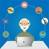Покупки Oldman онлайн Стоковые Изображения