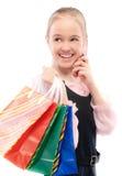 покупкы девушки говорят детенышей Стоковое Фото