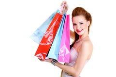 покупкы модной девушки счастливые Стоковые Фото
