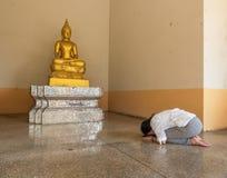 Поклонение к статуе Будды стоковое фото rf