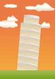 полагаясь башня захода солнца pisa Иллюстрация штока
