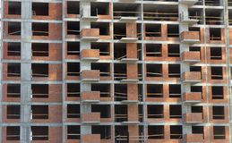 пола Часть стены незаконченного здания Стоковая Фотография