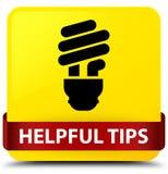 Полезные подсказки (значок шарика) желтеют ленту квадратной кнопки красную в midd иллюстрация штока