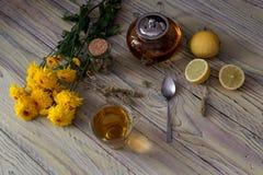 Полезный травяной чай с лимоном в чашке Стоковое Изображение