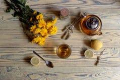 Полезный травяной чай с лимоном в чашке Стоковые Фото