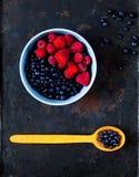 поленики и черника в голубом шаре на винтажной ржавой предпосылке металла Рудоразборка ягоды, концепция натуральных продуктов, пл стоковая фотография