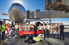 Полеты Hainan Airlines встречи годовщины 10 лет полетов к авиапорту Pulokovo Россия Санкт-Петербург июль Стоковая Фотография