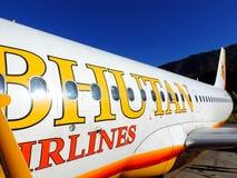 Полет авиакомпаний Бутана Стоковое фото RF
