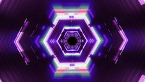 Полет в петли предпосылки анимации графиков движения тоннеля vr данным по кибер вне неоновых свет качество шестиугольной безшовно видеоматериал
