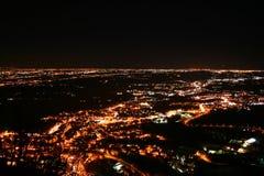полет города освещает долину ночи Стоковые Изображения RF