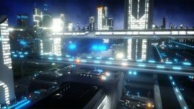 Полет над городом ночи футуристическим Концепция будущего Реалистическая анимация 4K иллюстрация штока