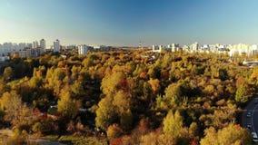 Полет над районом Zelenograd Москвы в осени, России акции видеоматериалы