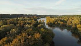 Полет над рекой и лесом акции видеоматериалы