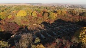 Полет над старой крепостью в Украине, крепости Tarakaniv акции видеоматериалы