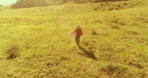 Полет над туристом рюкзака пешим идя через зеленое поле горы Огромная сельская долина на летнем дне видеоматериал