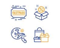 Полет поиска, значки Fastpass и продажи набор Знак покупок Отключение самолета, входной билет, скидка r иллюстрация штока