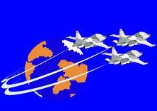 полет самолет-истребителя палубы воздушных судн иллюстрация штока