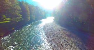 Полет среднего воздуха над свежим и чистым рекой горы на солнечном утре лета сток-видео