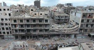 Полет трутня на разрушенный город акции видеоматериалы