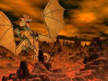 Полет дракона - 3D представляют Стоковое Изображение