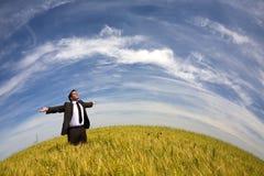 поле бизнесмена сельское Стоковая Фотография
