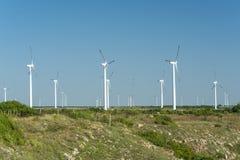 Поле ветротурбины против голубого неба, Болгарии Стоковая Фотография RF