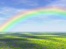 поле над радугой Стоковые Фотографии RF