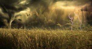 поле над угрожать неба иллюстрация вектора