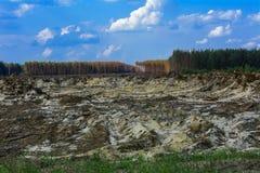 Поле подготовлено для противозаконного янтарного минирования в Zhytomyr стоковые фотографии rf