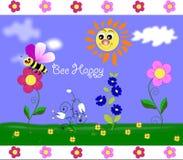 поле пчелы счастливое Стоковые Изображения