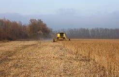 Поле сои с зернокомбайном Стоковая Фотография