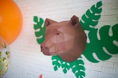 Полигональная голова медведя стоковое изображение rf