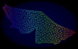 Полигональная карта вектора сетки радуги рамки провода государства акра иллюстрация штока