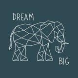 Полигональная печать слона с литерностью Скандинавский плакат стиля иллюстрация штока