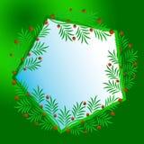 Полигональная рамка украшенная с хворостинами рождества с красными ягодами Рождество, Рожденственская ночь, Новый Год стоковые изображения rf