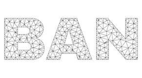 Полигональная 2D бирка текста ЗАПРЕТА иллюстрация вектора