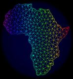 Полигональная 2D карта вектора сетки спектра Африки иллюстрация штока