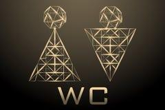 Полигональное абстрактное фоновое изображение человека и женщины в minimalistic форме для входа WC Яркий вектор в ржавчине или Ор иллюстрация вектора
