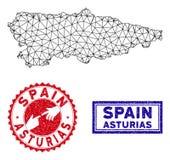 Полигональные печати карты и Grunge провинции Астурии сетки иллюстрация вектора
