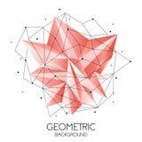 Полигональный абстрактный футуристический шаблон, низкий поли знак на белой предпосылке Линии вектора, точки и формы треугольника иллюстрация вектора