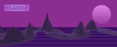 Полигональный ландшафт с горами сетки фиолетовыми для рекламировать v стоковое изображение rf