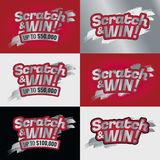 Полисмен Scratch-win-card-lotto-text-gold-red-final_Mesa de trabajo 1 иллюстрация штока