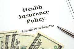 политика пер медицинской страховки наличных дег Стоковое фото RF