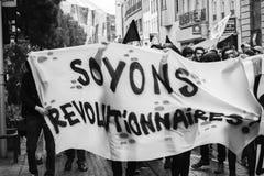 Политический марш во время французского общенационального дня против Ла Macrow Стоковое Изображение