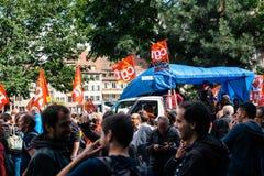 Политический марш во время французского общенационального дня против Ла Macrow Стоковое Фото