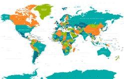 Политический покрашенный вектор карты мира Стоковые Изображения RF