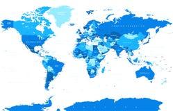 Политический покрашенный вектор карты мира Стоковое фото RF