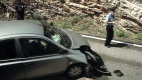 Полицейская машина на улице Хорватии сток-видео