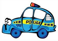 Полицейская машина шаржа изолированная на белизне Стоковая Фотография